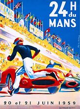 1959 - 24 Hours Le Mans France Automobile Race Car Advertisement Vintage Poster