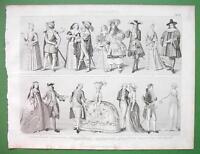 FASHION Baroque Era Greek Lady Court Belle Dutch Hoop etc - SUPERB Antique Print