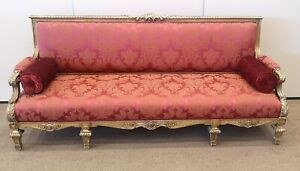 French Carved Giltwood Sofa, Late 19th Century, Louis lV Style