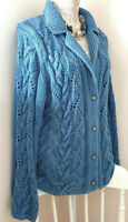 Blue Willi's Denmark Womens Knitted Cotton Cardigan Sweater Scandi Cable Knit L