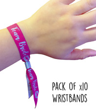 Hen Party Favour Wristbands - Team Bride - Pack of 10 Pink & Silver Wristbands