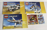4 Lego Creator Instruction Manuals #31034 Plane Car Robot & #31001 Books Only
