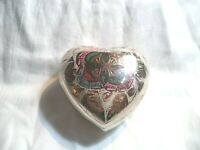 Chrome Etched Painted Heart Paper Weight Vintage
