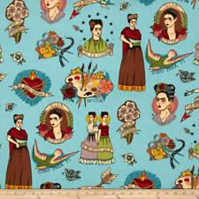Frida Foklorica Fabric Todo Para Ti - By Alexander Henry Blue Background