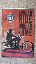Garage Wall Decor Metal tin Motorcycle SIGN Plaque, (LIVE TO RIDE RIDE TO LIVE)