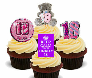 18th Birthday Girl Edible Cupcake Toppers, Stand-up Fairy Cake Bun Decorations