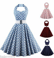 Retro 50s Swing Polka Dot Dress Womens Rockabilly Vintage Halter Dress + Belt