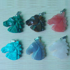 Fashion Carved Mixed Natural Gemstone Horse Pendants Charms 6pcs/lot Wholesale
