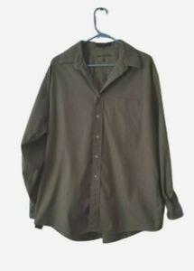 Tommy Hilfiger Men's 100% Cotton Olive Green Button Down Shirt Size 16 1/2 34-35