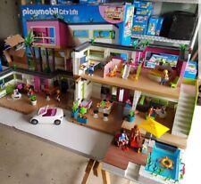playmobil maison moderne meublé + studio +voiture + piscine