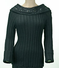 New Nine West Ladies Black Heavy Rib Knit Cowl Neck Sequined Sweater Size Large