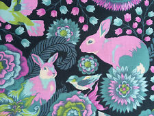 By 1/2 Yard ~ Free Spirit Fox Field Tula Pink Fabric ~ Foxtrot Dusk ~ fox rabbit