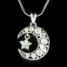 w Swarovski Crystal Bridal ~CRESCENT MOON Wish STAR Charm Chain Pendant Necklace
