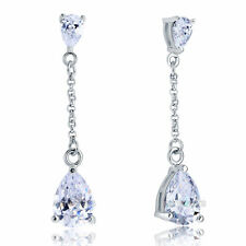 Orecchini di lusso con gemme bianco pendente in argento sterling