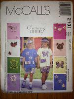 Girls Tshirt Shorts Summer Vacation Visor Purse Pattern 2191 Size 4-6 McCalls