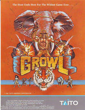Taito GROWL 1991 Original NOS Video Arcade Game Machine Promo Sales Flyer