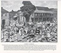 1897 Vittoriano Stampa ~ Mercato IN Dominica West Indies ~ Forti ( Testo