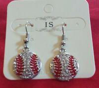 New Baseball Shape Flat Rhinestone Dangle Earrings
