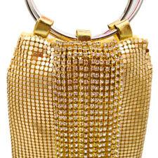 Elegant Crystal Tassels Aluminum Women Evening Purse Wristlets Clutch Bag