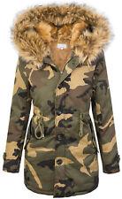 Damen Jacke Camouflage Parka gefüttert Winterjacke Army-Look Kapuze D-339 S-L