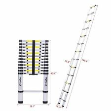 12.5' 12 Step Aluminum Telescoping Collapsible Roof Climbing Ladder Non Slip G