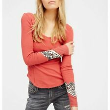 "NWT $68 Free People ""Bandana Cuff"" Top in Red Combo size SMALL"
