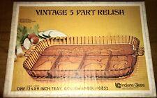 Retro Depression Vintage 5 Part Relish Tray Indiana Glass Golden Amber