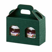 5 x GREEN KRAFT WINDOW 2 JAR GIFT BOX FOR TEA JAM PRESEVES 12cm TALL DELI