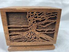 Mount Saint Helens Volcano Vintage Lasercraft Walnut Wood Pencil Holder