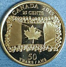 2015  GEM UNC  Non Coloured  Flag Canadian Quarter   ID #87A