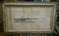 """ANTIQUE Print by Edward Loyd Field - Country Landscape - Lake 35"""" X 22"""" Framed"""