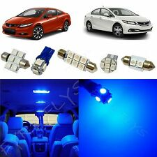 8x Blue LED lights interior package kit for 2013 & up Honda Civic HC2B