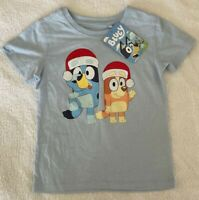 Bluey Christmas Xmas Boys Girl Blue T Shirt Top Sizes 3 4 5  BRAND NEW WITH TAGS
