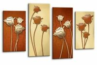 Floral Wall Art Brown Cream Grey Flower Print 4 Panel Canvas Abstract Picture