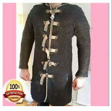 Halloween Flat Riveted Rings Chain mail Armour Medieval Large Hauberk Black