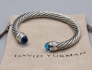 David Yurman Sterling Silver 7mm Cable Crossover Bracelet Blue Topaz w/ Diamond