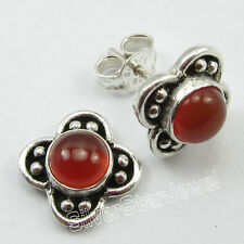 925 Sterling Silver Genuine RED CARNELIAN EXTRA ORDINARY Posts Earrings 0.6 Inch