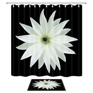 "White Daisy Flower In Black Waterproof Fabric Shower Curtain 71"" , Bathroom Mat"