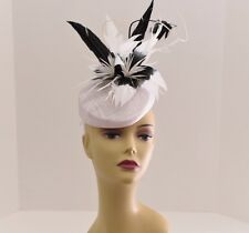 Kentucky Derby Wedding Sinamay feathers Fascinator Cocktail 99A (White/Black )