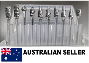 10pcs 3mm Head Tungsten Steel Carbide Rotary Burr Bur Grinder Bit Case Dremel