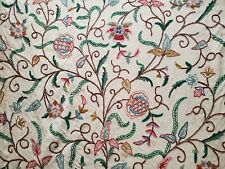 Antique Vintage Crewel Work Floral Fabric wool cotton