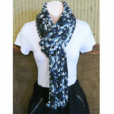 Mens Woollen Scarf, Womens Knitted Brown Mix Scarf, Cable Black Grey Scarf