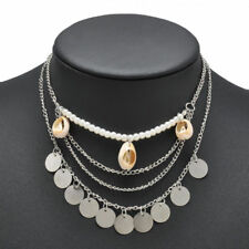 Boho MultiLayer Sea Shell Necklace Chain Strand Layered Bib Coins Silver Gypsy
