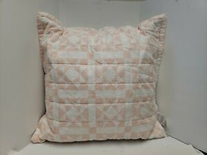 "Calvin Klein Abigail 22"" X 22"" Geometric Quilted Cotton Decorative Pillow - PINK"