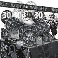 AGE 30 - Happy 30th Birthday BLACK & SILVER GLITZ -Party Range, Banners & Napkin