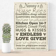 Nanny's House Rules Mum Nan Grandma Grandad Mother's Day Home Decor Sign Gifts