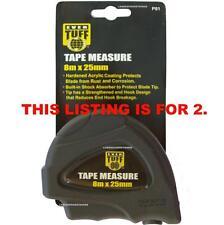 2 X TAPE MEASURE MEASURING METRIC 8 METRE EVER TUFF 8M X 25 MM NEW TOOLS TRADE