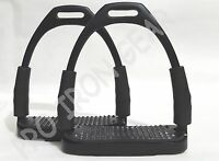 HORSE FLEXIBLE  SAFETY BLACK STIRRUPS  RIDING BENDY IRON STEEL (5 INCH)