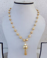 """South Indian Jewelry Ethnic Gold Plated Beaded Necklace Chain 22k Light Mala 22"""""""