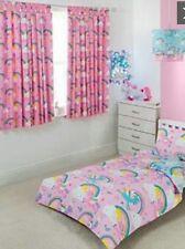 RAINBOWS & UNICORN CURTAINS FULLY LINED GIRLS BEDROOM 66X54 TIE-BACKS 🌈🦄